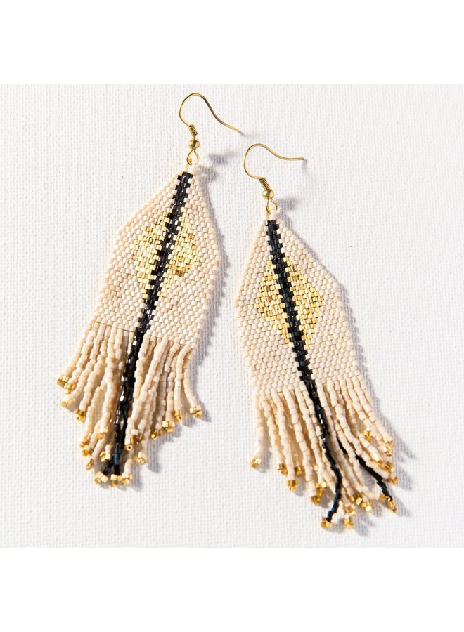 "Gold Ivory Stripe Luxe Earring with Fringe (4.25"")"