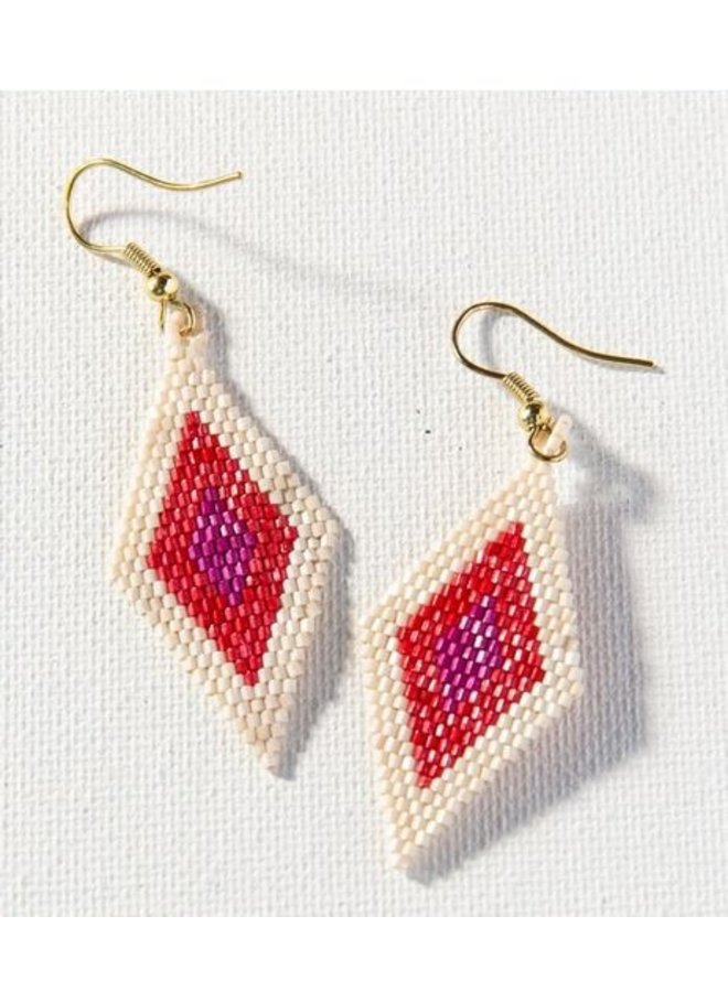 "Magenta Scarlet Ivory Border Diamond Luxe Earrings (2.5"")"