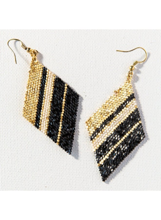 """Gold Black Ivory Diamond Luxe Stripe Earrings (3.5"""")"""