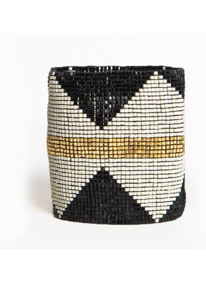 "Black with Ivory Diamonds and Gold Stripe Luxe Stretch Beaded Bracelet (2.25""W)"