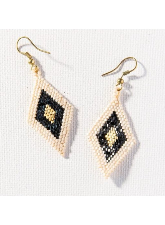 "Black/Gold/Ivory Border Diamond Luxe Earrings (2.5"")"