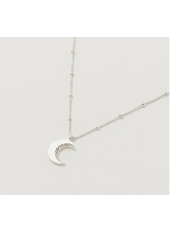 Moon CZ Necklace- Silver Plated
