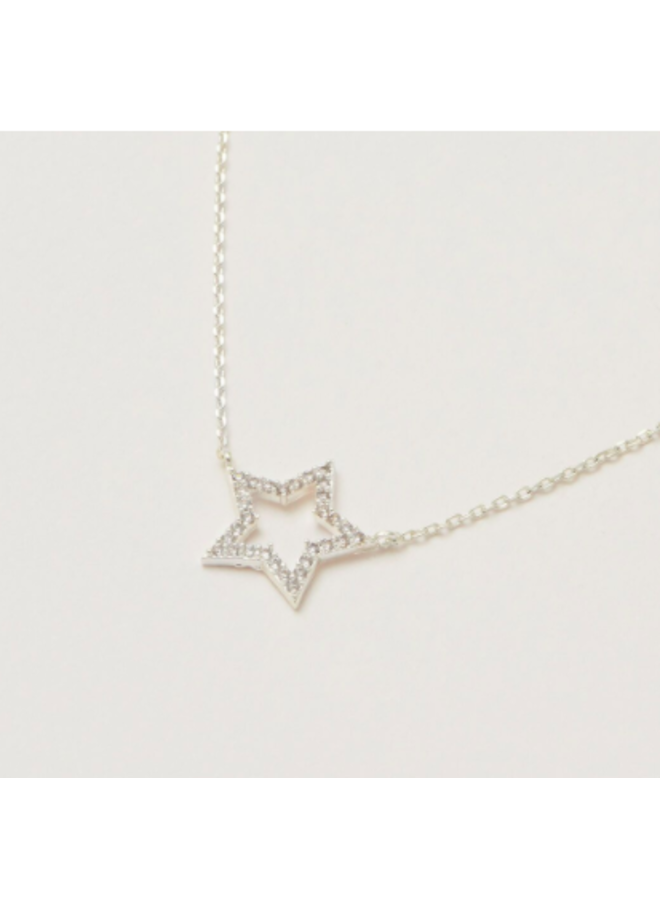 Open Star CZ Necklace - SIlver Plated