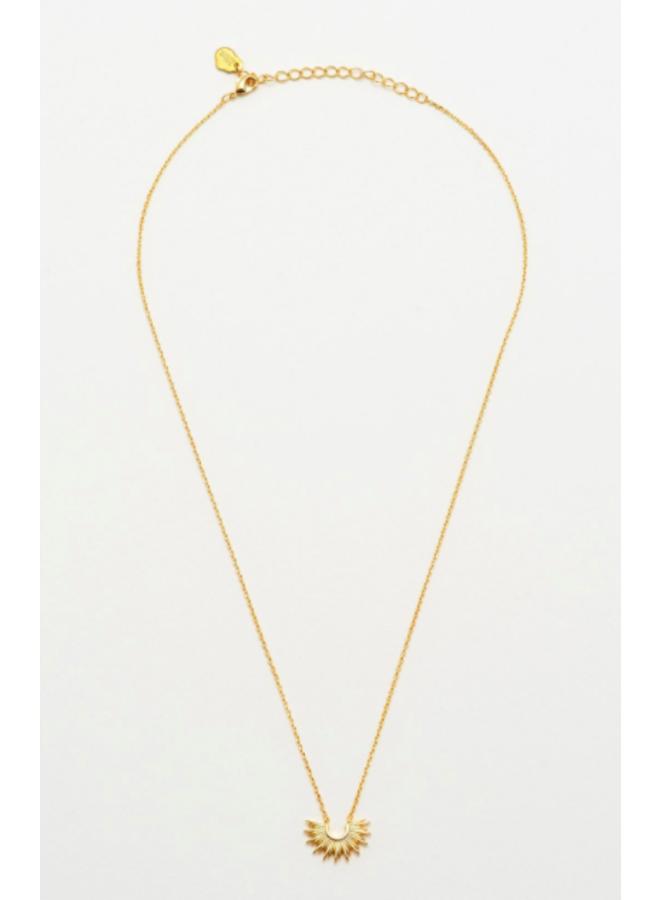 Half Sunburst Necklace- Gold Plated