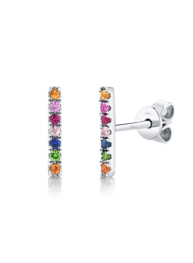 14K White Gold/Multi-Color Stone Bar Stud Earrings (.17ct)