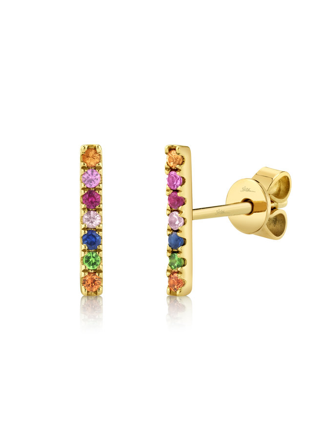 14K Yellow Gold/Multi-Color Stone Bar Stud Earrings (.17ct)