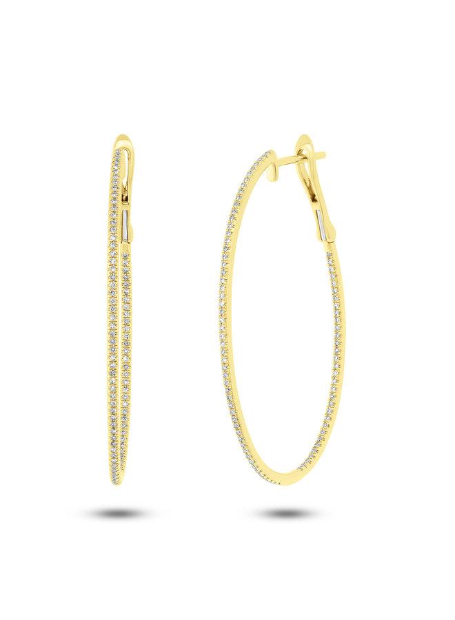 14K Yellow Gold and Diamond Oval Hoop Earrings (.44ct)
