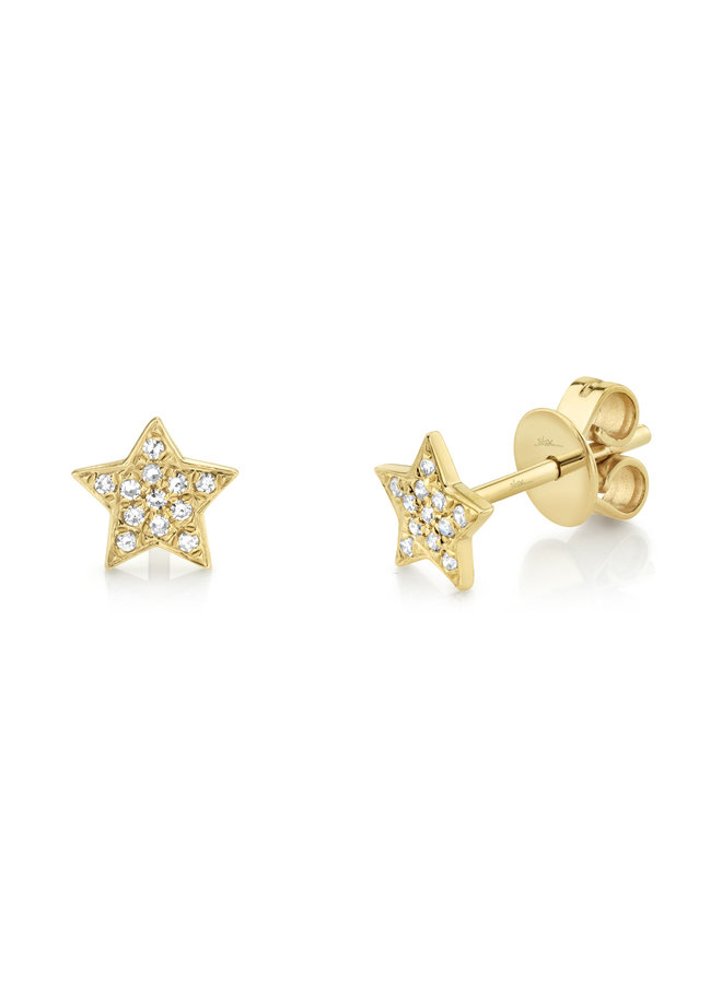 14K Yellow Gold and Diamond Star Stud Earrings (.07ct)