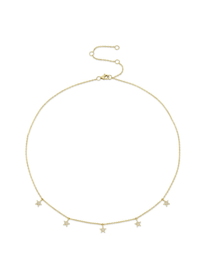 14K Yellow Gold and 5 Diamond Pave Star Necklace (.13ct)