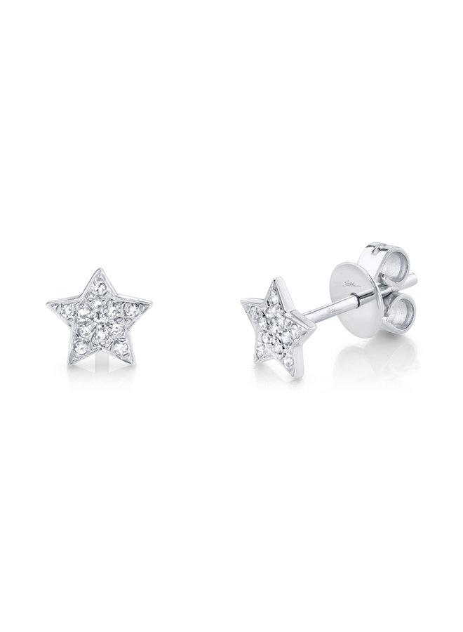 14K White Gold and Diamond Star Stud Earrings (.07ct)