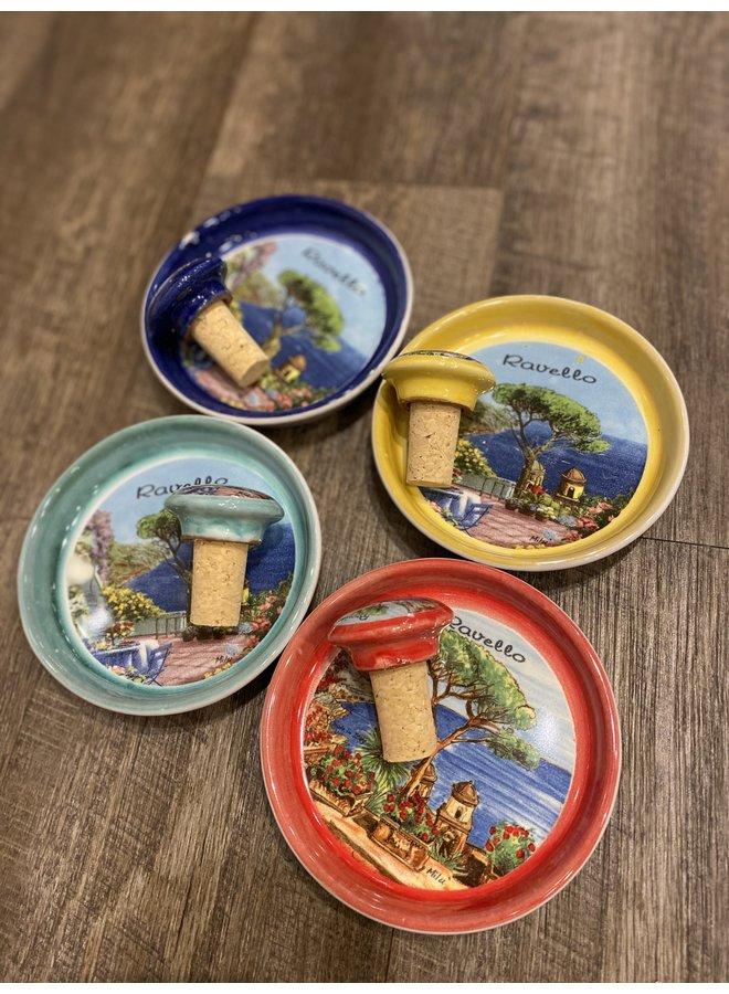Ravello Ceramic Wine Coaster/Stopper Set
