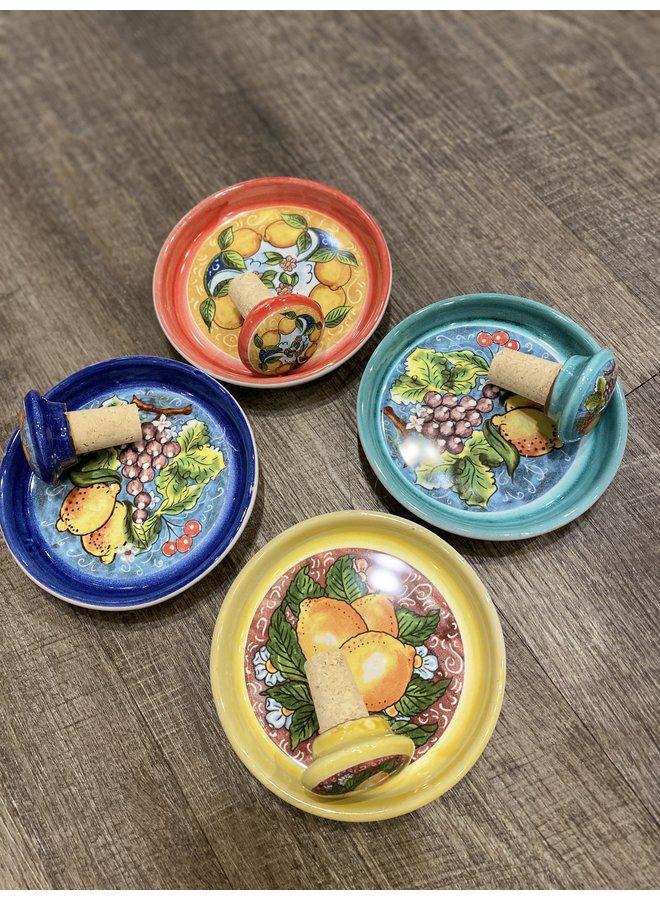 Citrus Ceramic Wine Coaster/Stopper Set -