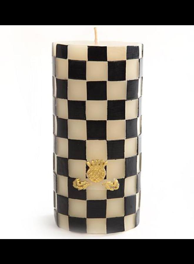 "Check Pillar Candle - 6"" - Black & White"