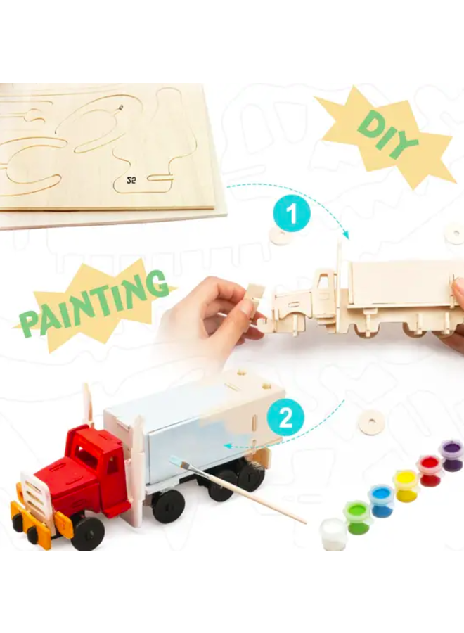 3D Wooden Puzzle Paint Kit : Truck
