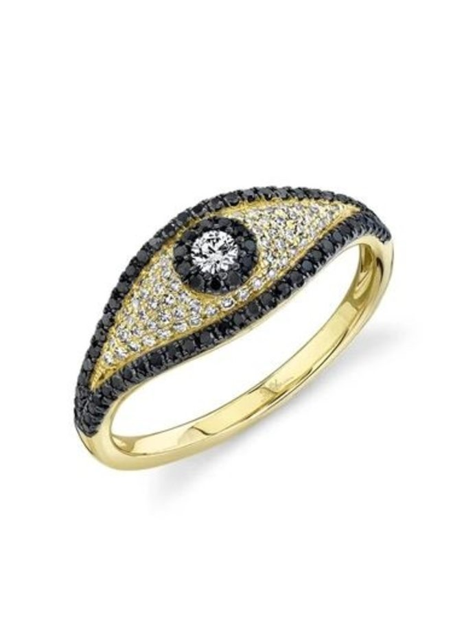 14K Yellow Gold and Black/White Diamond Evil Eye Ring (.46ct, Size 7)