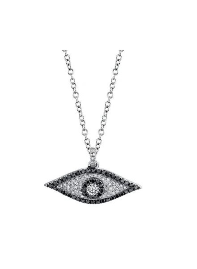 14K White Gold, Black/White Diamond Evil Eye Necklace (.35ct)