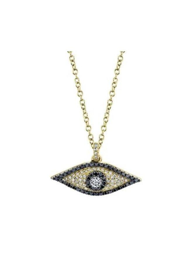 14K Yellow Gold, Black/White Diamond Evil Eye Necklace (.35ct)