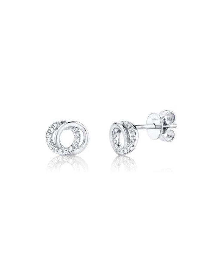 14K White Gold Diamond Love Knot Circle Earrings (.09ct)