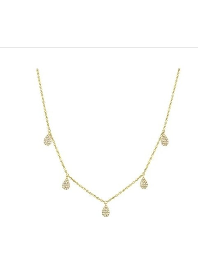 14K Yellow Gold and 5 Diamond Pave Teardrop Necklace (.27ct)