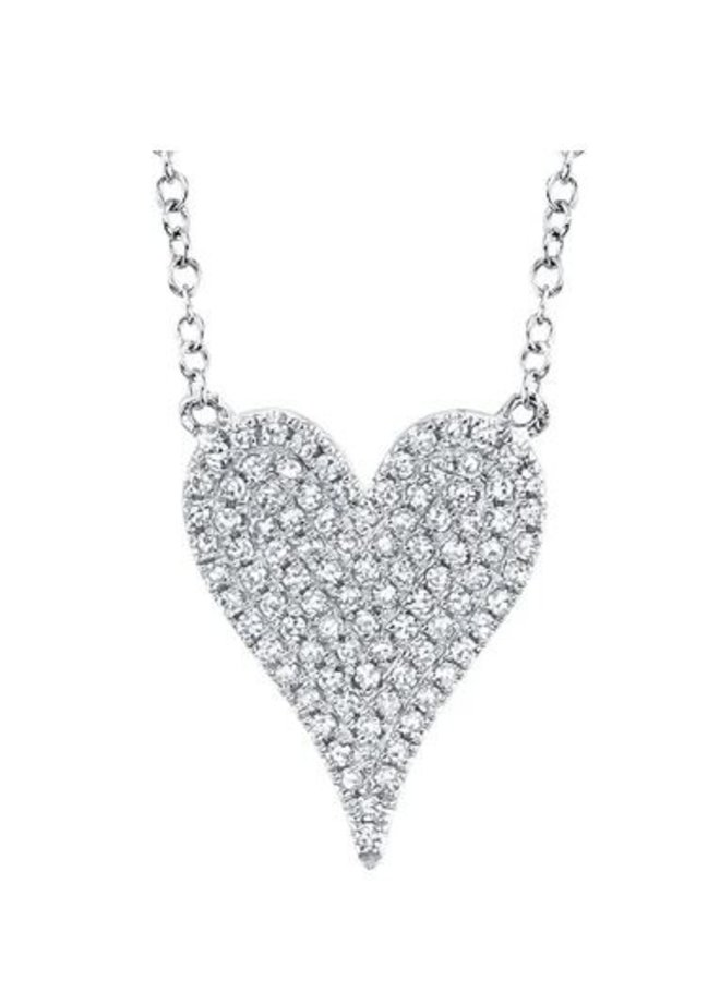"""14K White Gold and Diamond Pave Heart Necklace (.21ct/.55""""L)"""