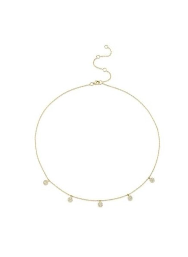 14K Yellow Gold and 5 Diamond Pave Circle Necklace (.22ct)