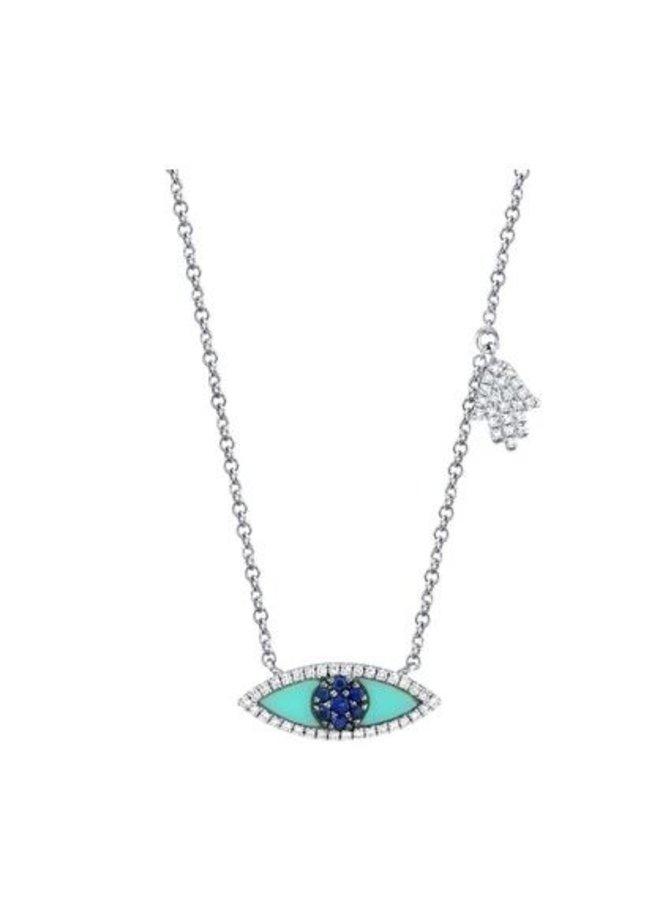 14K White Gold, Blue Sapphire & Turquoise Evil Eye/Hamsa Necklace (.13Ct/.38 Ct)