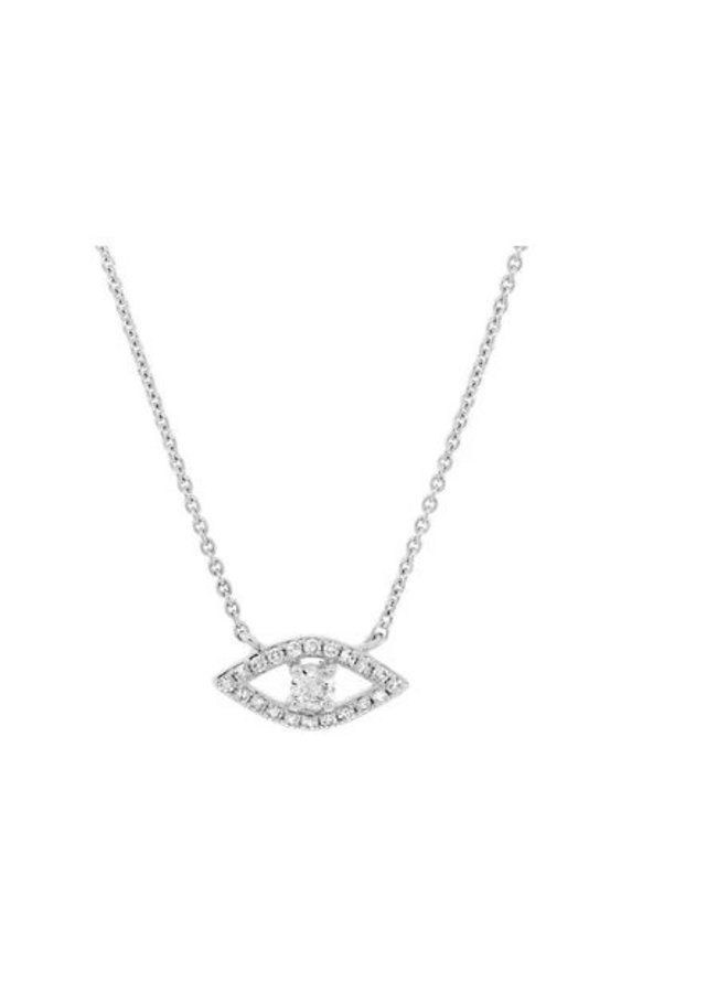 14K White Gold and Diamond Evil Eye Necklace (.14ct)