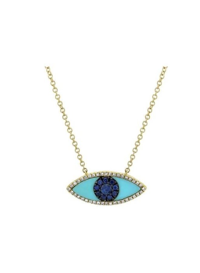 14K Yellow Gold,  Blue Sapphire & Turquoise Evil Eye Necklace (.09Ct/.065Ct)