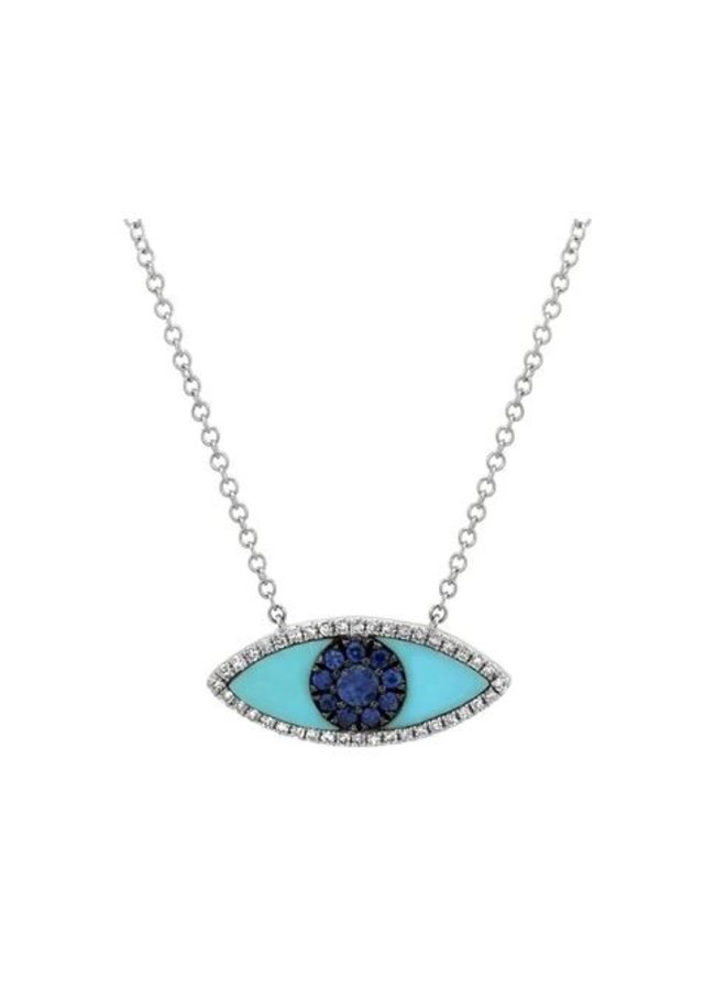 14K White Gold,  Blue Sapphire & Turquoise Evil Eye Necklace (.09Ct/.065Ct)