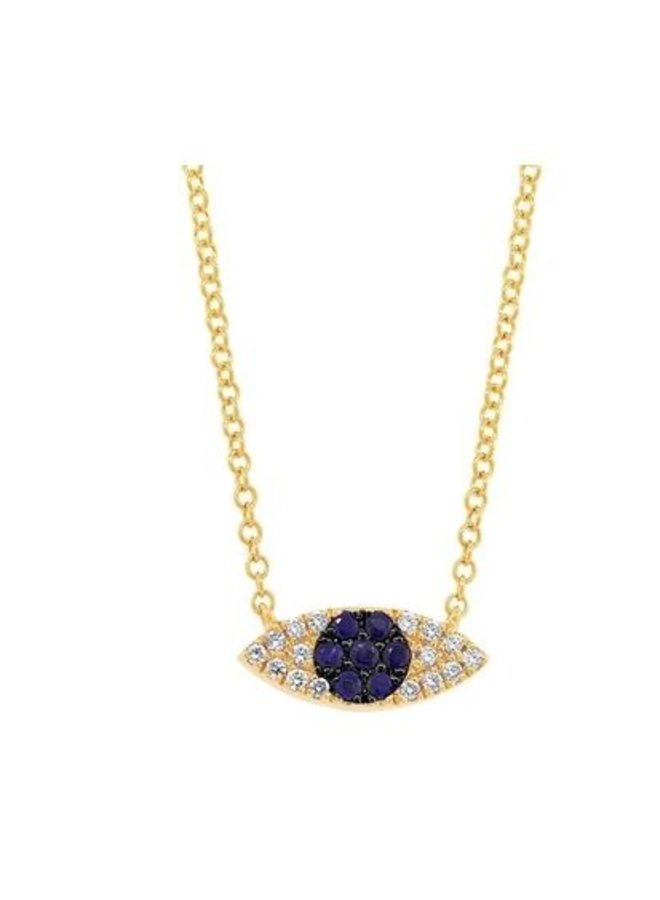 14K Yellow Gold, Diamond and Blue Sapphire Eye Necklace (.07 Ct/.11 Ct)