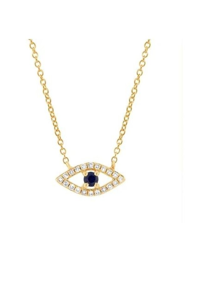 14K Yellow Gold, Diamond and Blue Sapphire Evil Eye Necklace (.09ct/.08ct)