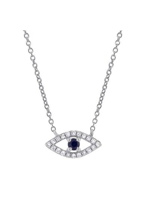 14K White Gold, Diamond and Blue Sapphire Evil Eye Necklace (.09ct/.08ct)