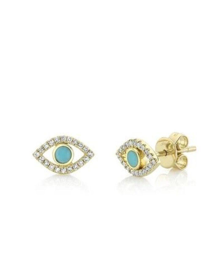 14K Yellow Gold, Diamond and Composite Turquoise Evil Eye Stud Earrings (.12ct/.14ct)