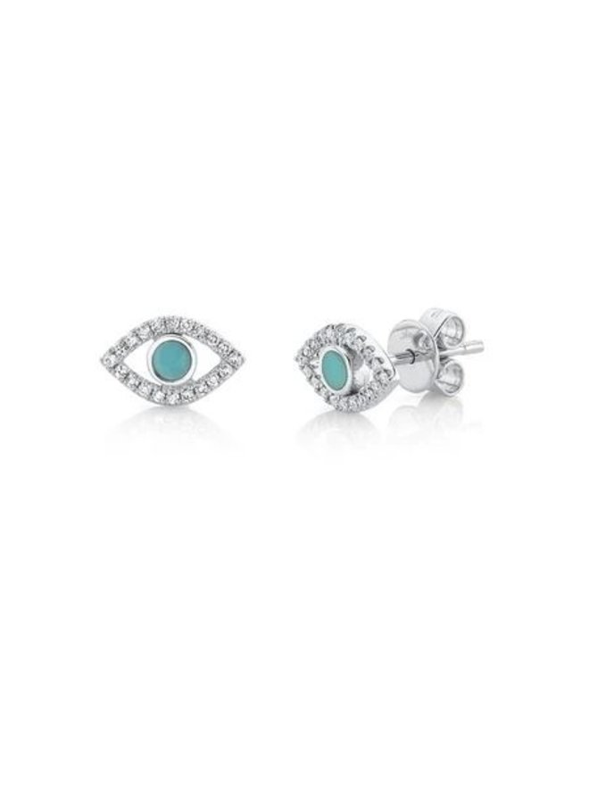 14K White Gold, Diamond and Composite Turquoise Evil Eye Stud Earrings (.12ct/.14ct)