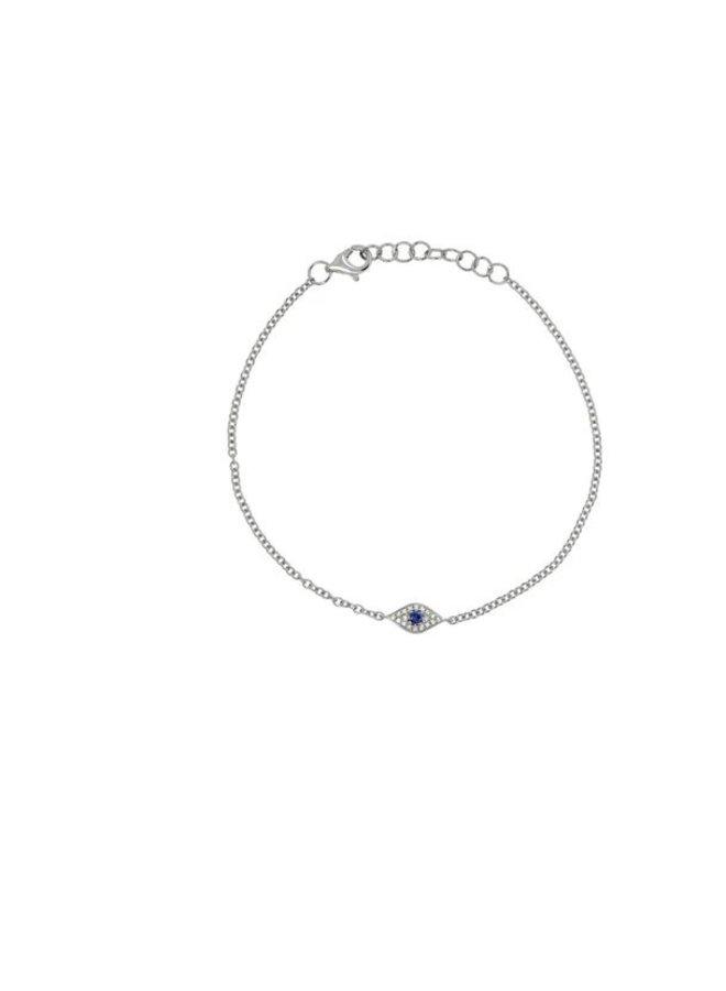 14K White Gold, Sapphire and Diamond Eye Bracelet (.04ct/.06ct)