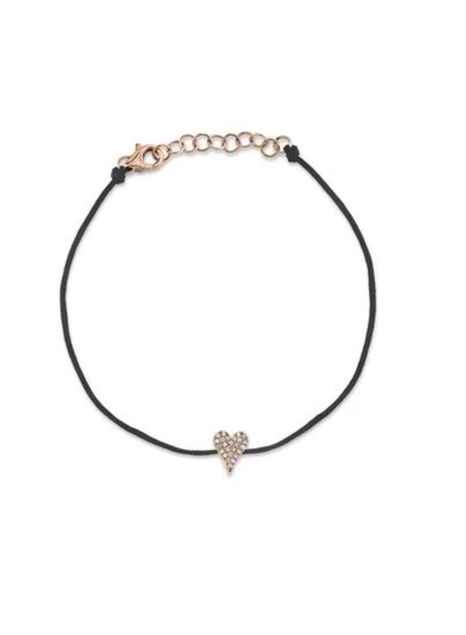 14K Rose Gold and Diamond Pave Heart Bracelet  on Black Cord( .06Ct )