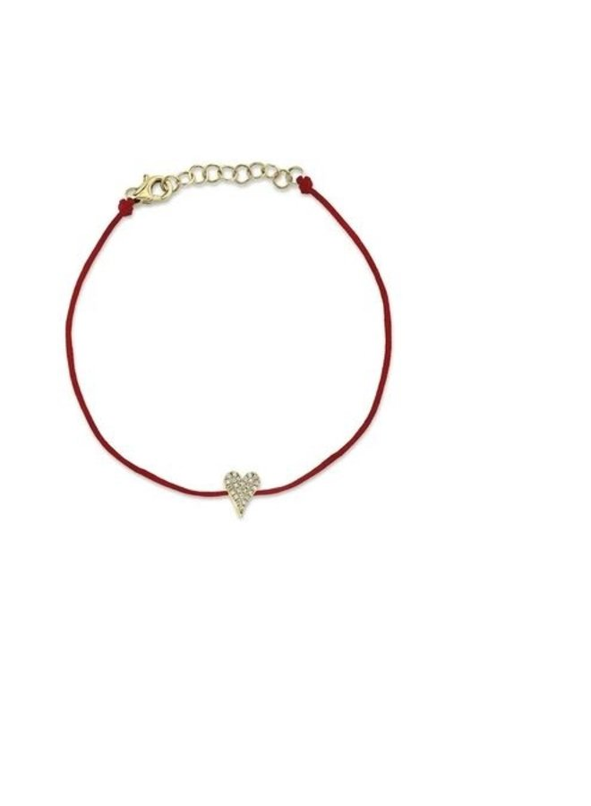 14K Yellow Gold and Diamond Pave Heart Bracelet  on Red Cord (.06Ct )