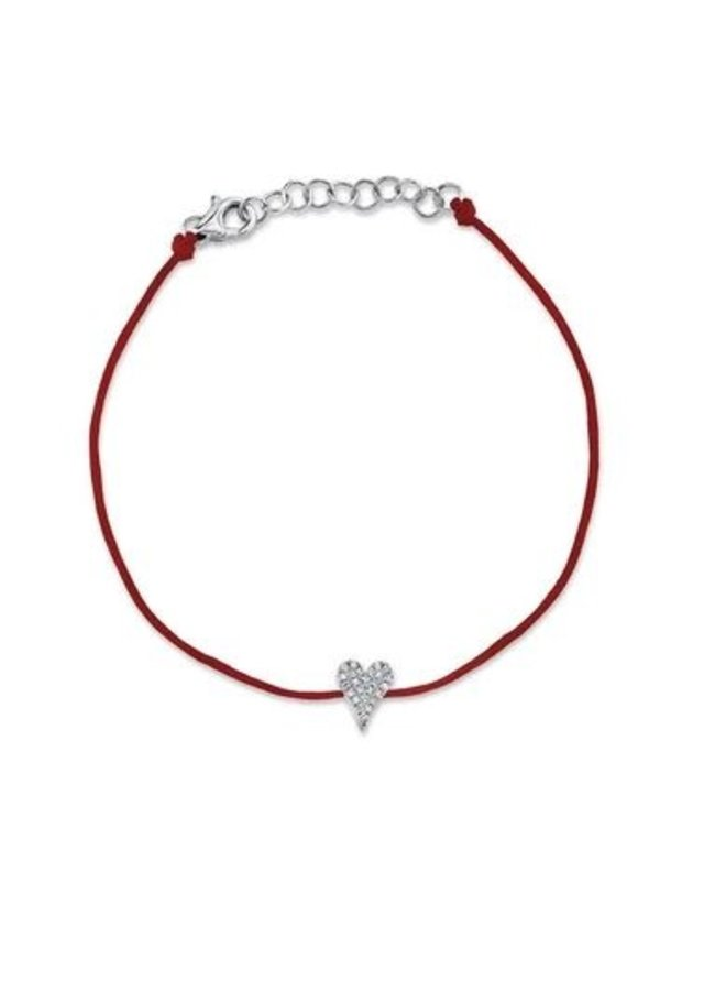 14K White Gold and Diamond Pave Heart Bracelet  on Red Cord (.06Ct )
