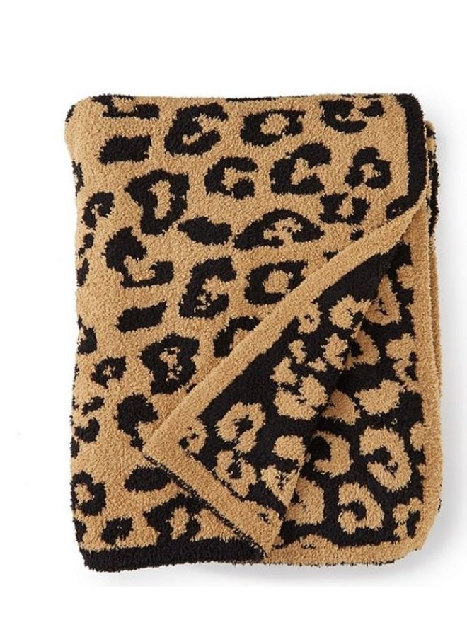 Adult Throw- Camel/Black Leopard