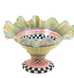 MacKenzie-Childs Taylor Fluted Rim Compote-Odd Fellows