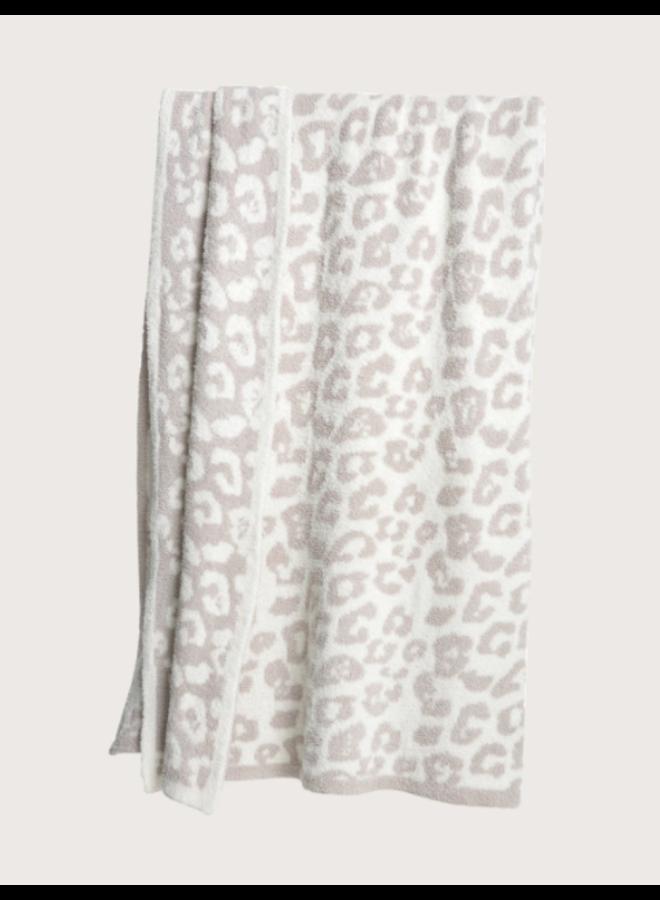 Adult Throw- Cream/Stone Leopard