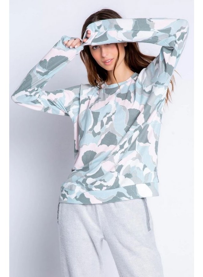 Camo Bloom Textured Grey Top