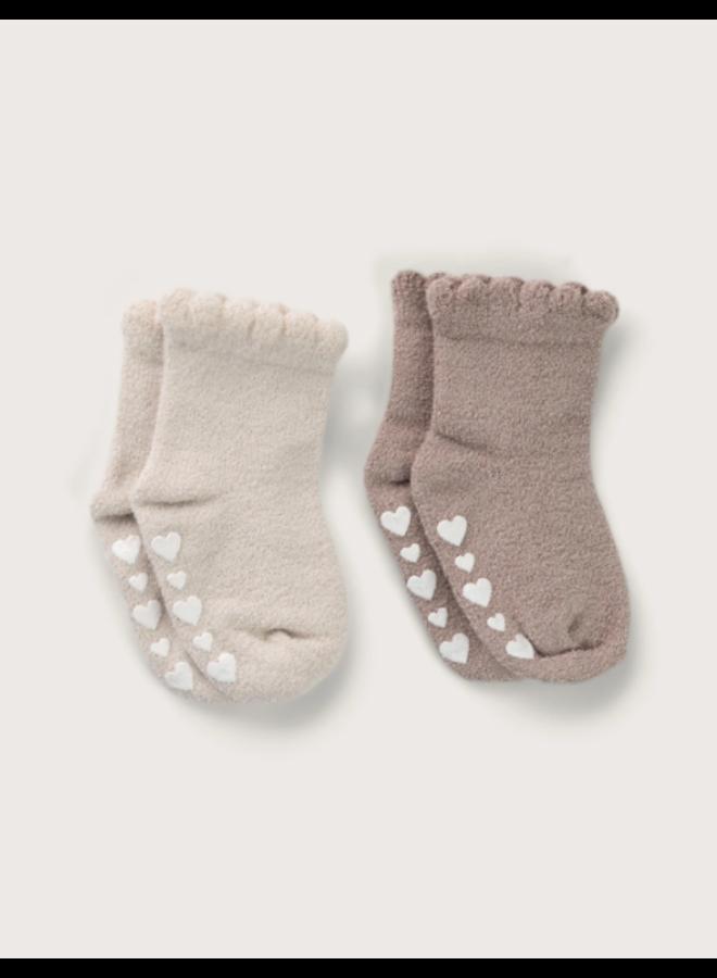 CozyChic Ultra Lite Ruffled Sock Set - 12-18m/Sand Dune and Faded Rose
