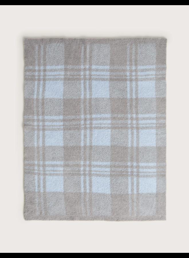 "CozyChic Plaid Stroller Blanket (30"") - Sky/Dove Gray"