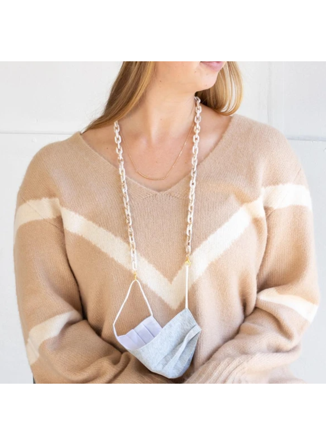 Madelyn Mask Chain Necklace- White Tortoise