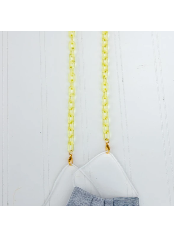 Madelyn Mask Chain Necklace- Soft Neon Yellow