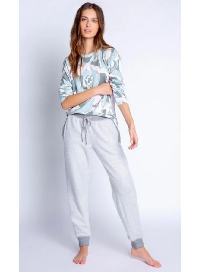 Camo Bloom Textured Grey Banded Pant