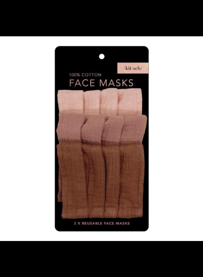 Cotton Mask 3pc Set- Dusty Rose