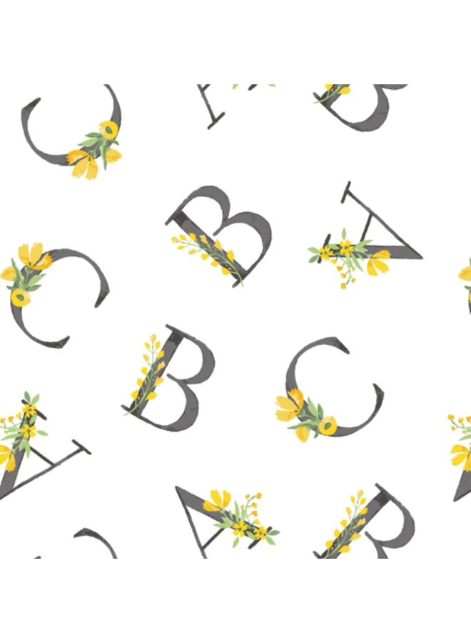 Floral Alphabet Oh-So-Soft Swaddle