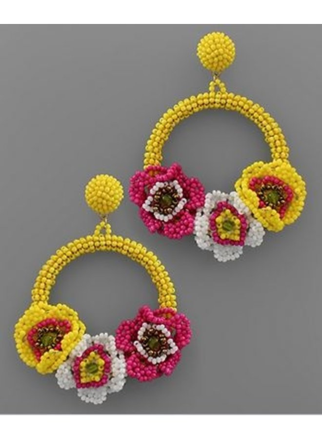 Bead Flower Circle Earrings- Yellow/Multi